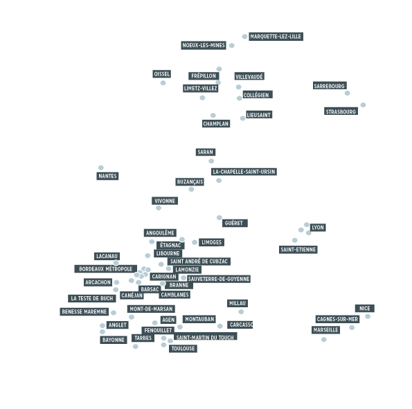 Carte de France Label Architectures Projet architecturaux France Architecture Bordeaux Architecture Paris Architecture Strasbourg Architecture Nantes